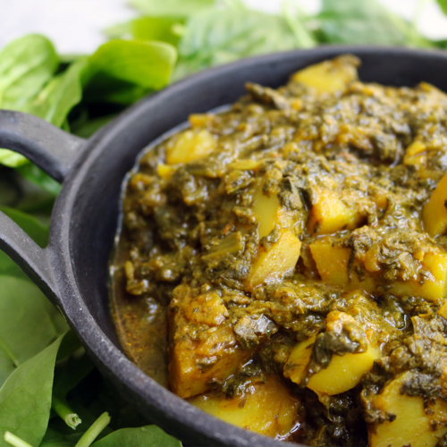Potato and spinach (Saag Aloo)